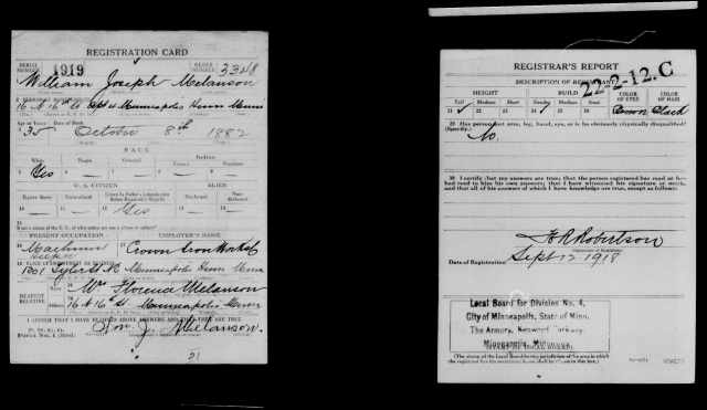 William Melanson draft card